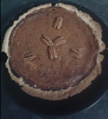 My vegan pumpkin pie. Bad edges a result of poor pastry into dish skills!